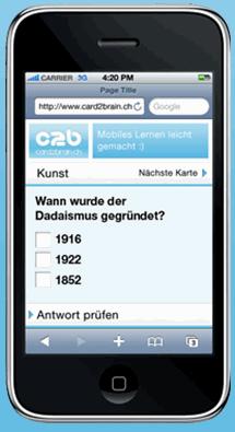Smartphone mit Card2Brain Lernkarte